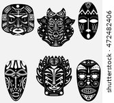 black and white set of six...   Shutterstock .eps vector #472482406