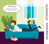 woman with book on sofa. young... | Shutterstock .eps vector #472494274