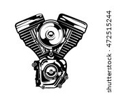 Motorcycle Engine In Monochrom...