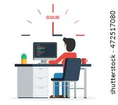 deadline concept of overworked... | Shutterstock .eps vector #472517080