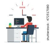 deadline concept of overworked... | Shutterstock .eps vector #472517080
