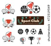 set sports equipment for emblem ... | Shutterstock .eps vector #472519549