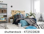 spacious bedroom with modern... | Shutterstock . vector #472522828