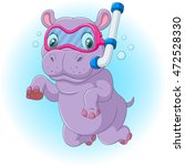 cute hippo diving | Shutterstock .eps vector #472528330