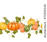 seamless border with pumpkins.... | Shutterstock .eps vector #472543144