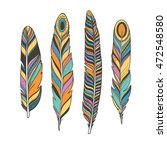 colorful feathers  boho style ... | Shutterstock .eps vector #472548580