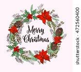 merry christmas wreath   Shutterstock .eps vector #472560400