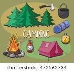 set of camping equipment...   Shutterstock . vector #472562734
