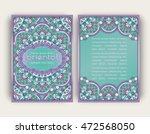 vintage card with round floral...   Shutterstock .eps vector #472568050
