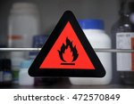 focus at lable flammable... | Shutterstock . vector #472570849