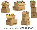 cardboard boxes stacked with... | Shutterstock .eps vector #472573060