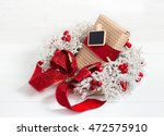 christmas wreath with a ribbon... | Shutterstock . vector #472575910