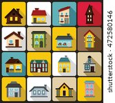 house icons set in flat style.... | Shutterstock . vector #472580146