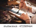 leather handbag craftsman at...   Shutterstock . vector #472589464