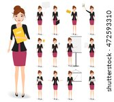 set of business woman character. | Shutterstock .eps vector #472593310