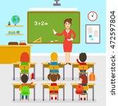 school classroom with teacher... | Shutterstock .eps vector #472597804
