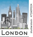 london skyline with gray... | Shutterstock .eps vector #472609324