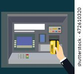 atm machine payment with hand... | Shutterstock .eps vector #472610320