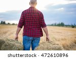 working farmer man with straw... | Shutterstock . vector #472610896