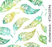 hand drawn feathers seamless... | Shutterstock . vector #472613596