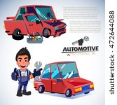 car restore. before and after.... | Shutterstock .eps vector #472644088