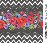 beautiful flower seamless... | Shutterstock . vector #472671760