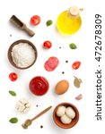 Pizza Ingredients Isolated On...