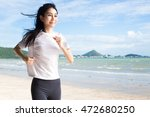 asian woman running with beach... | Shutterstock . vector #472680250