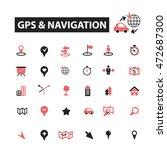 gps navigation icons | Shutterstock .eps vector #472687300