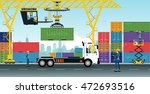 container cranes have delivery... | Shutterstock .eps vector #472693516