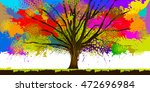 colorful tree stains of paint.... | Shutterstock .eps vector #472696984