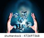 hand holding virtual box | Shutterstock . vector #472697368