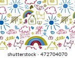 seamless pattern with doodle... | Shutterstock .eps vector #472704070