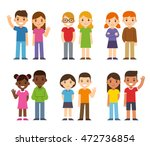 set of cute cartoon diverse... | Shutterstock .eps vector #472736854