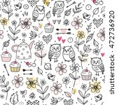 seamless pattern with owls ... | Shutterstock .eps vector #472736920