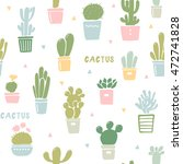 seamless pattern with cactus... | Shutterstock .eps vector #472741828