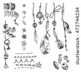 hand drawn collection of boho... | Shutterstock . vector #472744234