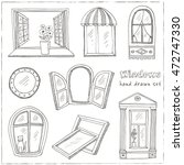 doodle windows set  isolated on ... | Shutterstock .eps vector #472747330