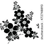 floral black and white design | Shutterstock .eps vector #472748893