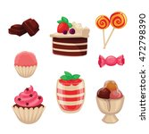 set of sweets  cakes  cupcakes  ... | Shutterstock .eps vector #472798390