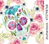 Watercolor Mexican Sugar Skull...