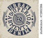 vintage label of urban denim ... | Shutterstock .eps vector #472802386
