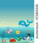 group of cartoon underwater... | Shutterstock .eps vector #472804348