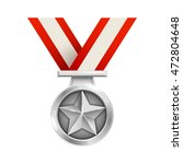3d silver medal with striped...