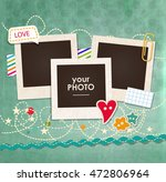 collage photo frame on vintage... | Shutterstock .eps vector #472806964