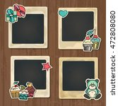 collage photo frame on vintage... | Shutterstock .eps vector #472808080