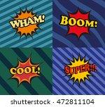 set of comic bubbles in pop art ... | Shutterstock .eps vector #472811104