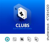 clubs color icon  vector symbol ...