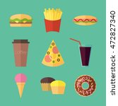 fast food colorful flat design... | Shutterstock .eps vector #472827340