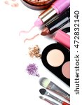 makeup brush and cosmetics on a ... | Shutterstock . vector #472832140